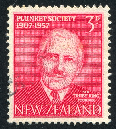NEW ZEALAND - CIRCA 1957: stamp printed by New Zealand, shows Sir Truby King, circa 1957 Stock Photo - 13117875