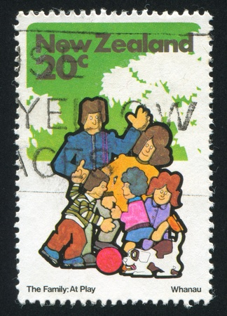 NEW ZEALAND - CIRCA 1981: stamp printed by New Zealand, shows family and dog, circa 1981