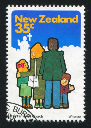NEW ZEALAND - CIRCA 1981: stamp printed by New Zealand, shows family at church, circa 1981