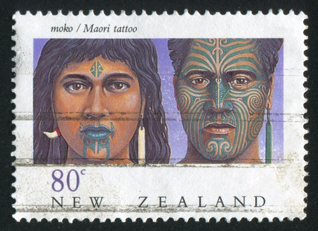 NEW ZEALAND - CIRCA 1990: stamp printed by New Zealand, shows Maori tattoo, circa 1990