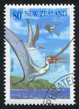 NEW ZEALAND - CIRCA 1993: stamp printed by New Zealand, shows pterosaur, circa 1993 Stock Photo - 13117810