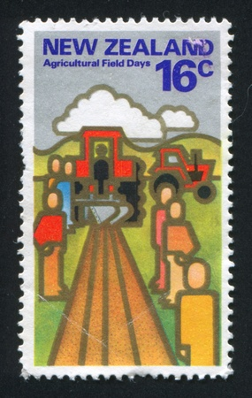 furrow: NEW ZEALAND - CIRCA 1978: stamp printed by New Zealand, show furrow, plow and tractor, circa 1978