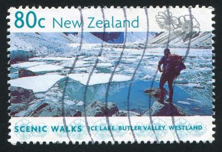 NEW ZEALAND - CIRCA 1999: stamp printed by New Zealand, shows ice lake, Butler valley, circa 1999 Stock Photo - 13117811