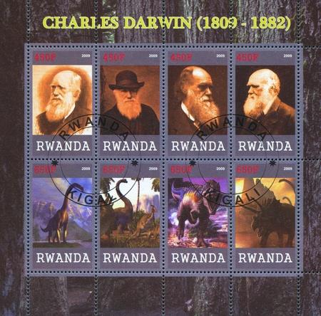RWANDA - CIRCA 2009: stamp printed by Rwanda, shows Charles Robert Darwin, great scientist, circa 2009 Stock Photo - 13117900