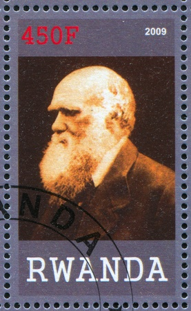 darwin: RWANDA - CIRCA 2009: stamp printed by Rwanda, shows Charles Robert Darwin, great scientist, circa 2009