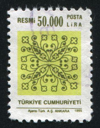 TURKEY - CIRCA 1995: stamp printed by Turkey, shows turkish pattern, circa 1995. Stock Photo - 13117748