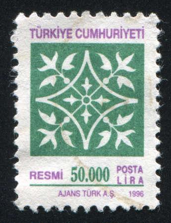 arabic numeral: TURKEY - CIRCA 1996: stamp printed by Turkey, shows turkish pattern, circa 1996.