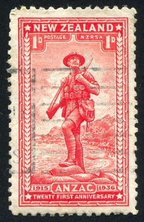 NEW ZEALAND - CIRCA 1936: stamp printed by New Zealand, shows Anzac, circa 1936
