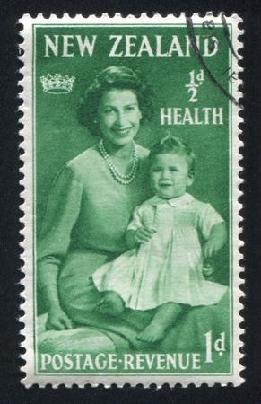 NEW ZEALAND - CIRCA 1950: stamp printed by New Zealand, shows Princess Elizabeth with her mother, circa 1950