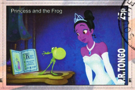 TONGO - CIRCA 2011: stamp printed by Tongo, shows Walt Disney cartoon character, Princess and the frog, circa 2011