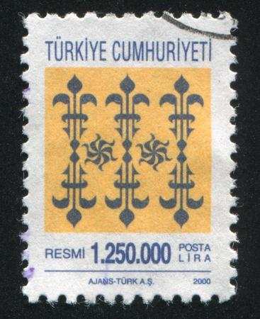 arabic numeral: TURKEY - CIRCA 2000: stamp printed by Turkey, shows turkish pattern, circa 2000.