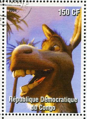 CONGO - CIRCA 2004: stamp printed by Congo, shows cartoon character Shrek, donkey, circa 2004
