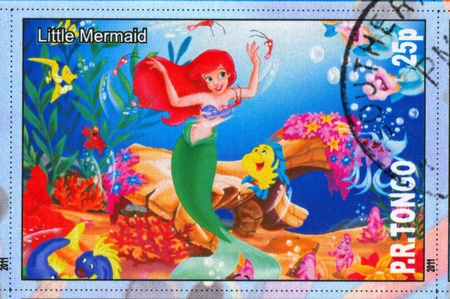 TONGO - CIRCA 2011: stamp printed by Tongo, shows Walt Disney cartoon character, Little Mermaid, circa 2011