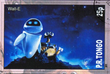 TONGO - CIRCA 2011: stamp printed by Tongo, shows cartoon character, Wall-E, circa 2011 Stock Photo - 13257901