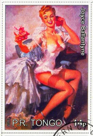 TONGO - CIRCA 2010: stamp printed by Tongo, shows Pin-up girl, by Joyce Ballantyne, circa 2010