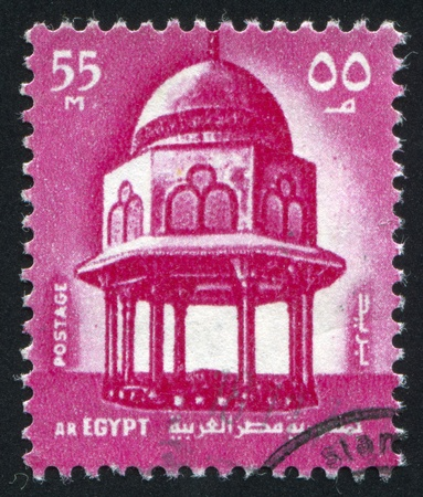 abjad: EGYPT - CIRCA 1969: stamp printed by Egypt, shows Fountain, Sultan Hassan Mosque, Cairo, circa 1969.