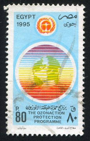 EGYPT - CIRCA 1995: stamp printed by Egypt, shows Ozone day emblem, circa 1995. Stock Photo - 13265840