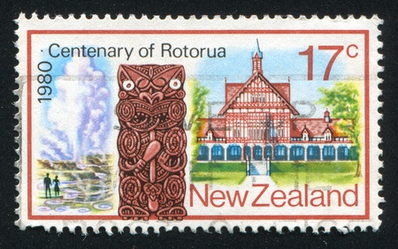 NEW ZEALAND - CIRCA 1980: stamp printed by New Zealand, shows Maori Wood Carving, Tudor Towers, circa 1980 Stock Photo - 13265885