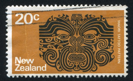 NEW ZEALAND - CIRCA 1970: stamp printed by New Zealand, shows Maori tattoo pattern, circa 1970 Stock Photo - 13265914