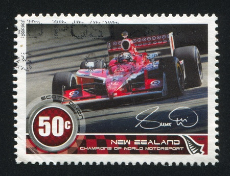 NEW ZEALAND - CIRCA 2009: stamp printed by New Zealand, shows Champions of World Motorsport, Scott Dixon, circa 2009 Stock Photo - 13265875