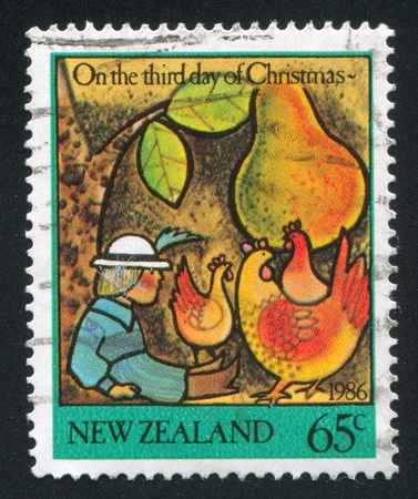 NEW ZEALAND - CIRCA 1986: stamp printed by New Zealand, shows a Man, fruits and chicken, circa 1986
