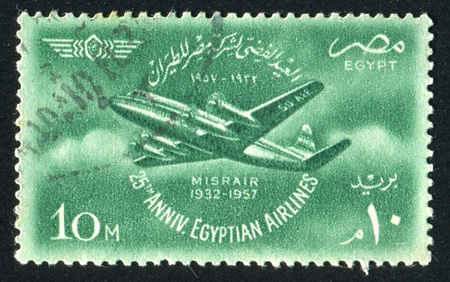 EGYPT - CIRCA 1957: stamp printed by Egypt, shows Viscount plane, circa 1957 Stock Photo - 13353781