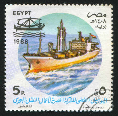 abjad: EGYPT - CIRCA 1988: stamp printed by Egypt, shows Martrans (National shipping line), circa 1988