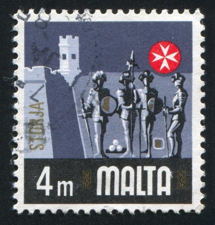 armour plating: MALTA - CIRCA 1973: stamp printed by Malta, shows Knights, circa 1973