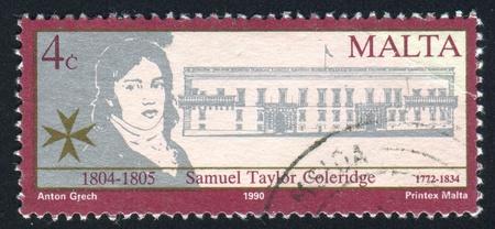 taylor: MALTA - CIRCA 1990: stamp printed by Malta, shows Samuel Taylor Coleridge, circa 1990