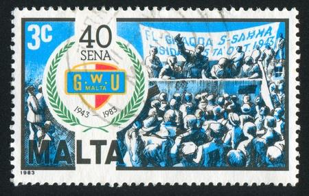 founding: MALTA - CIRCA 1983: stamp printed by Malta, shows Founding Rally, circa 1983 Editorial