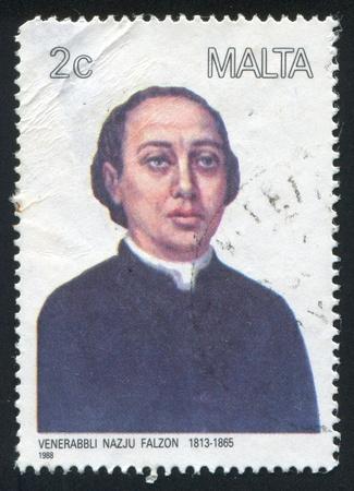 clergyman: MALTA - CIRCA 1988: stamp printed by Malta, shows Clergyman Nazju Falzon, circa 1988 Editorial