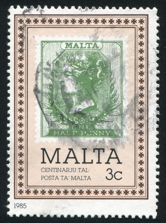 MALTA - CIRCA 1985: stamp printed by Malta, shows Malta woman, circa 1985