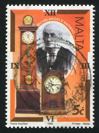 smaller: MALTA - CIRCA 1995: stamp printed by Malta, shows Michelangelo Sapiano, Long Case and Smaller Clock, circa 1995