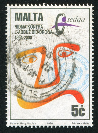 MALTA - CIRCA 1996: stamp printed by Malta, shows Decade Against Drug Abuse, circa 1996 Stock Photo - 13353639