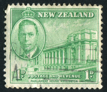 NEW ZEALAND - CIRCA 1946: stamp printed by New Zealand, shows Parliament House, Wellington, circa 1946