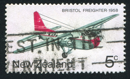 NEW ZEALAND - CIRCA 1974: stamp printed by New Zealand, shows Bristol freighter 1958, circa 1974 Stock Photo - 13353738