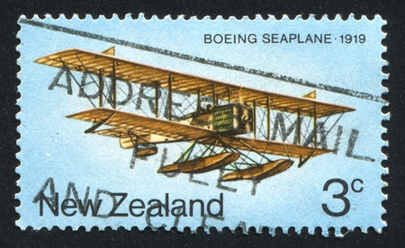 NEW ZEALAND - CIRCA :1974 stamp printed by New Zealand, shows boeing seaplane 1919, circa 1974