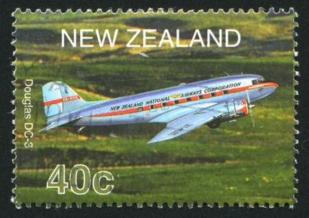 NEW ZEALAND - CIRCA 2001: stamp printed by New Zealand, shows plane Douglas DC-3, circa 2001