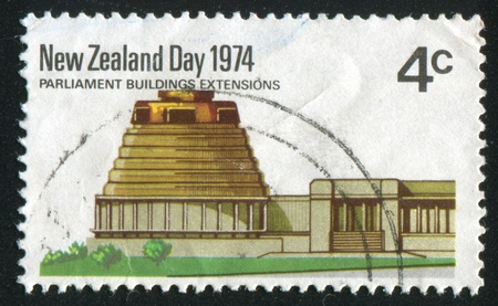 socle: NEW ZEALAND - CIRCA 1974: stamp printed by New Zealand, shows Parliament extension buildings, circa 1974