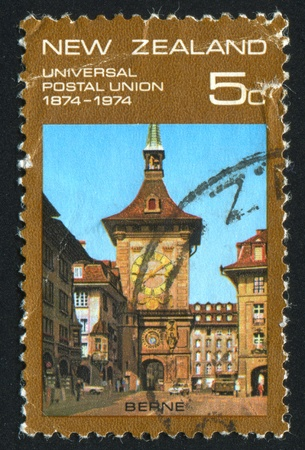NEW ZEALAND - CIRCA 1974: stamp printed by New Zealand, shows Clock Tower, Bern, circa 1974