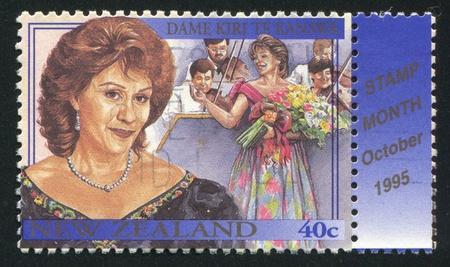 NEW ZEALAND - CIRCA 1995: stamp printed by New Zealand, shows Famous Living New Zealanders, Dame Kiri Te Kanawa, performing arts, circa 1995