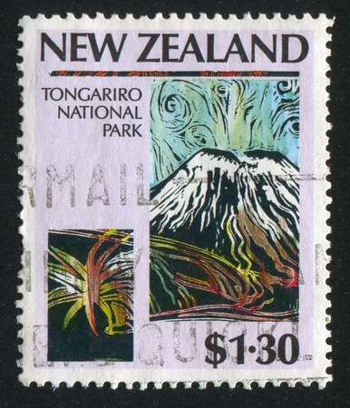 NEW ZEALAND - CIRCA 1987: stamp printed by New Zealand, shows Tongariro National Park, circa 1987 Stock Photo - 13353789