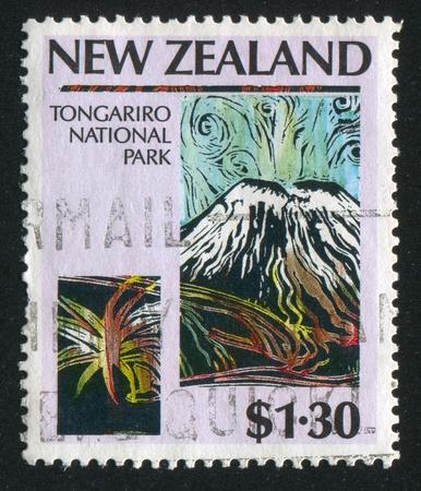 NEW ZEALAND - CIRCA 1987: stamp printed by New Zealand, shows Tongariro National Park, circa 1987 Stock Photo - 13353789