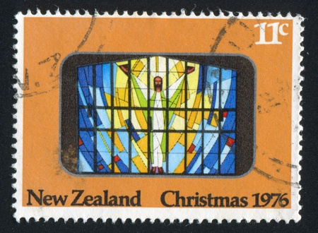 NEW ZEALAND - CIRCA 1976: stamp printed by New Zealand, shows Christmas, Risen Christ, St. Joseph's Church, Grey Lynn, Auckland, circa 1976