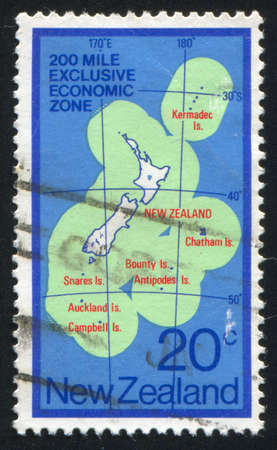 NEW ZEALAND - CIRCA 1978: stamp printed by New Zealand, shows Map of New Zealand Exclusive Economic Zone, circa 1978 Stock Photo - 13361495