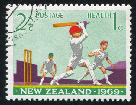 NEW ZEALAND - CIRCA 1969: stamp printed by New Zealand, shows Boys Playing Cricket, circa 1969