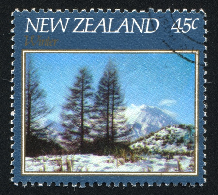 NEW ZEALAND - CIRCA 1982: stamp printed by New Zealand, shows Winter Landscape, Mountain Ngauruhoe, circa 1982
