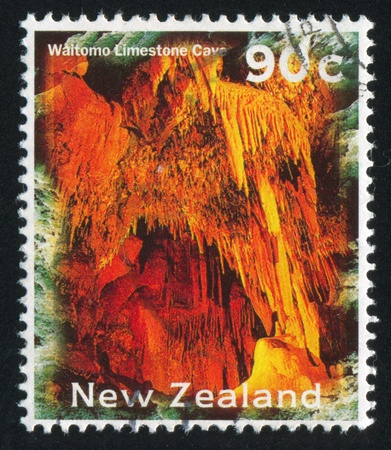 NEW ZEALAND - CIRCA 1996: stamp printed by New Zealand, shows Waitomo Limestone Cave, circa 1996 Stock Photo - 13353792