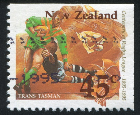 NEW ZEALAND - CIRCA 1995: stamp printed by New Zealand, shows Rugby Match, circa 1995