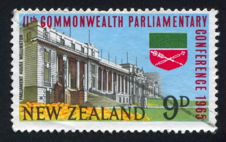 NEW ZEALAND - CIRCA 1965: stamp printed by New Zealand, shows Parliament House in Wellington and Commonwealth Parliamentary Association Emblem, circa 1965